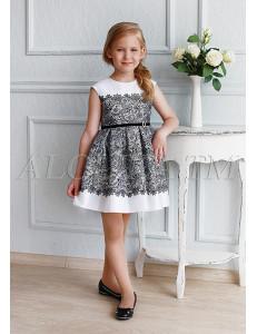 Платье нарядное белое с кружевным рисунком Полли