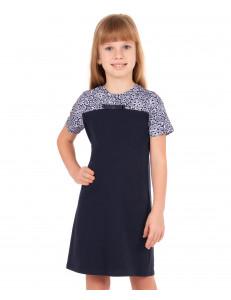 Платье с коротким рукавом темно-синего цвета верх с эффектом кружева