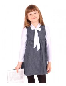 Платье серо-синий твид с эффектом белой блузки