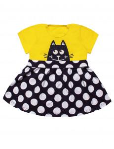 """Платье для малышек с коротким рукавом в горошек """"Мяу"""""""
