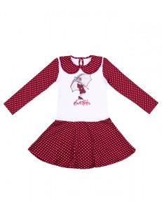 """Платье с длинными рукавами красного цвета в горох """"девочка с зонтом"""""""