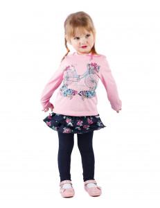 """Платье с длинным рукавом розового цвета """"незабудки"""""""