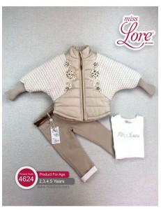 Комплект для девочек цвета бежевого Летучая мышь (куртка, джинсы и джемпер)