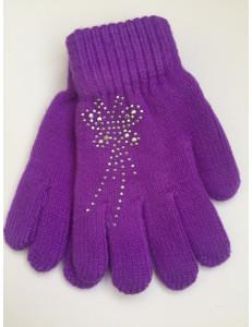 Перчатки осенние фиолетового цвета с бабочкой из страз