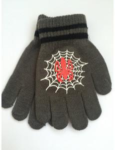 Перчатки осенние серого цвета с пауком