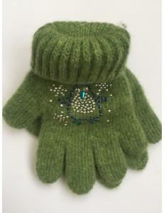 Перчатки зимние зеленого цвета с пингвином