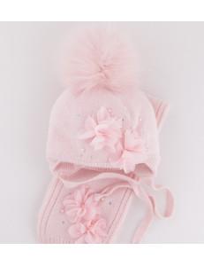 """Комплект розовый шапка зимняя с шарфом с розовыми цветами """"Вивьен"""""""