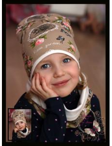 """Комплект бежевый для девочек  (удлиненная шапка и снуд) """"Garden"""""""