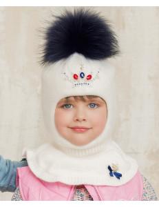 Шапка-шлем для девочек белого цвета с короной Антуанетта