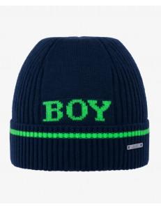 """Шапка демисезонная синего цвета с зеленой надписью """"BOY"""""""