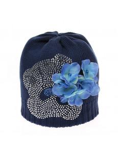 "Шапка весенняя синяя на девочку с синими цветами ""мишка"""