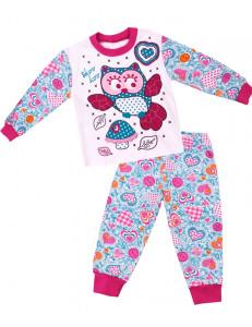 """Пижама с длинным рукавом бирюзовая с сердечками """"сова с грибом"""""""