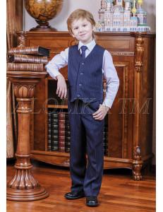 """Костюм для мальчиков синего цвета (жилет и брюки) """"Лорд"""""""