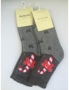 """Носки теплые серые """"рождество"""""""
