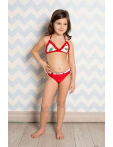 """Купальный костюм для девочек красного цвета """"Вишенки"""""""