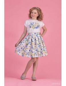 """Комплект для девочек с голубыми цветами (блуза и юбка) """"New Look"""""""