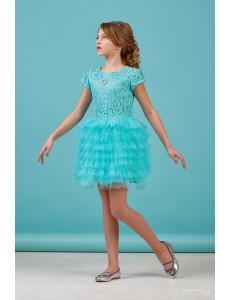Платье нарядное бирюзового цвета с многоярусной юбкой