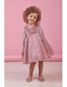 """Платье с длинным рукавом цвета сухая роза """"Velur"""""""