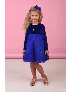 """Платье с длинным рукавом темно-синего цвета """"Velur"""""""