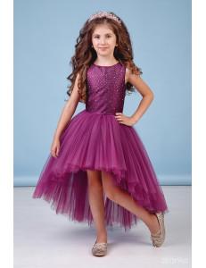 """Платье нарядное со шлейфом сливового цвета """"Аура"""""""