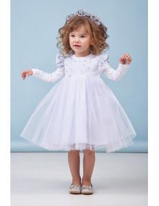 """Платье нарядное для малышек белого цвета """"Снежинка"""""""