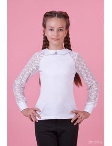 """Блузка белого цвета с отложным воротником """"Стиль рок"""""""