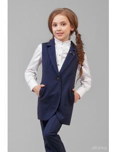 """Костюм для девочек синего цвета (жилет и брюки) """"Модница"""""""
