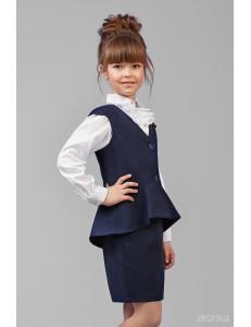 """Костюм для девочек синего цвета (жилет и юбка) """"Вета"""""""