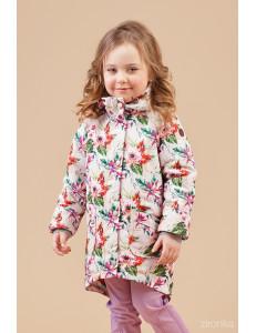 """Куртка-парка для девочек ассиметричная с красивыми цветами """"Герда"""""""