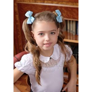 """Бант для волос голубого цвета на мягкой резинке """"Виола"""" (2шт)"""