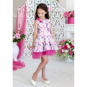 Платье нарядное белого цвета с нежным принтом Журавушка
