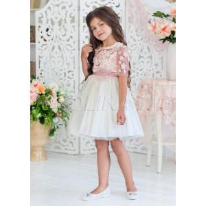 Платье нарядное бежевого цвета с нежными цветами Арабелла