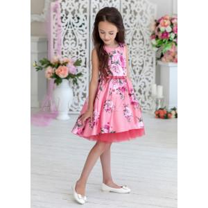 Платье нарядное розового цвета с цветочным принтом Энже