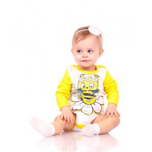 """Боди для малышей желтого цвета с длинным рукавом """"Пчелка"""""""