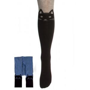 Колготки цвета джинс с кошками на коленках