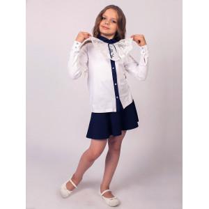 """Блузка для девочек белого цвета с контрастным воротником """"Жабо"""""""