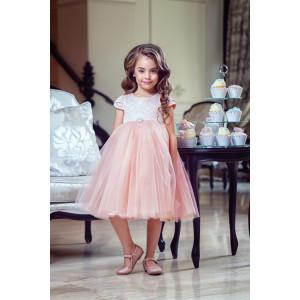 """Платье нарядное цвета пудра с жаккардовым верхом """"Леди"""""""