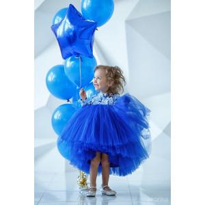 """Платье нарядное с длинным рукавом синего цвета """"Flowers"""""""