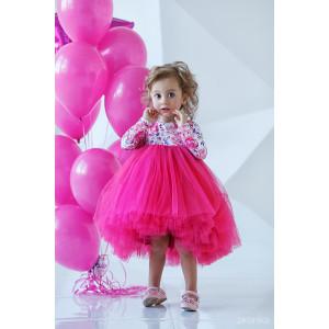 """Платье нарядное с длинным рукавом ярко-розового цвета """"Flowers"""""""