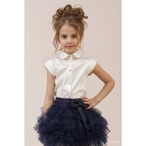 "Блузка цвета айвори с коротким рукавом ""Люкс"""