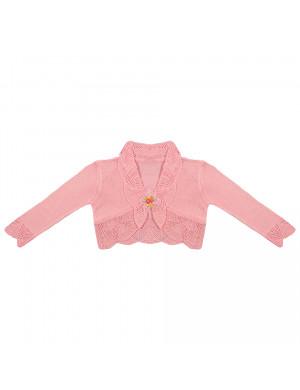 Болеро ажурное розового цвета с длинным рукавом Дива
