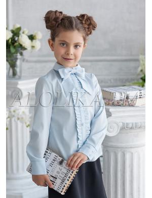 """Блузка голубого цвета с бантом """"Фредерика"""""""