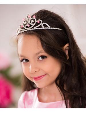 Диадема для девочки с розовыми бусинками Королева Екатерина