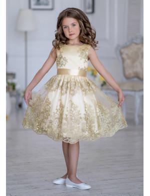 Платье нарядное золотистое с вышивкой Царина