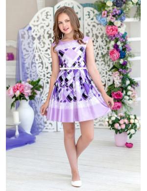 Платье нарядное сиреневое с контрастной отделкой Альберта