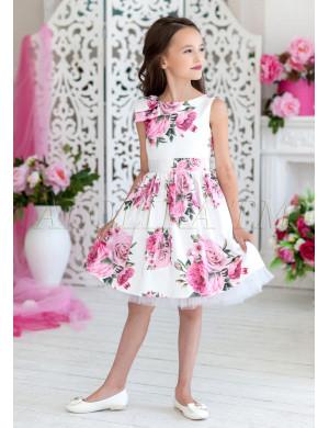 Платье нарядное белого цвета с цветочным принтом Люсьен