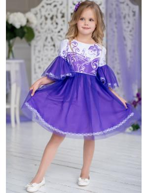 Платье нарядное сиреневого цвета с пышными рукавами Сесиль
