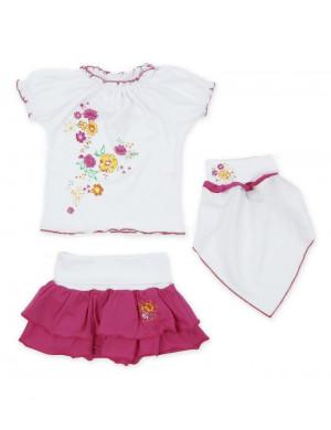 """Комплект для малышек тройка """"розовая полянка"""""""