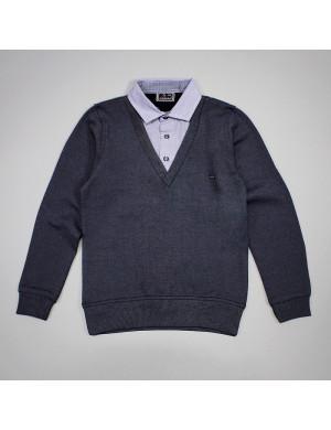 """Джемпер-обманка цвета серый меланж с имитацией рубашки """"Меч"""""""