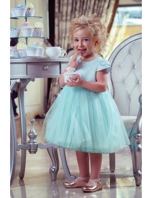 """Платье нарядное ментолового цвета с жаккардовым верхом """"Леди"""""""